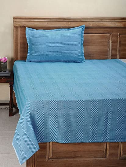Dhrohar Classy Hand Woven Cotton Single Bed Cover with 1 Pillow Cover - Blue & Red