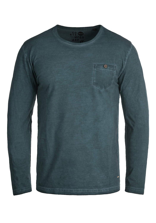 !Solid Tharan Herren Longsleeve Langarmshirt Shirt Mit Rundhalskragen Und Brusttasche Aus 100% Baumwolle