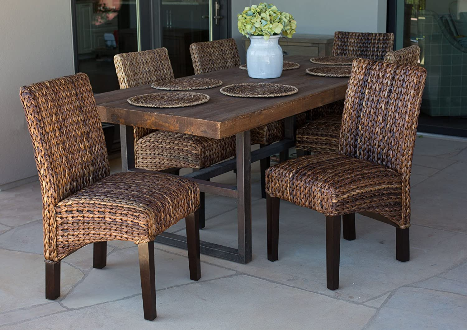 BIRDROCK HOME Abaca and Seagrass Side Chair Set | 2 pc | Delivered Fully Assembled