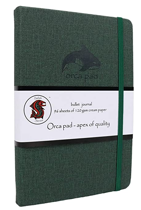 Orca Pad Hardcover Bullet Journal with 3 Stencils | A5 size Dotted Grid 120 GSM Cream Paper,Inner Pocket,2 Bookmarks | Portable Travel Elastic Closure ...