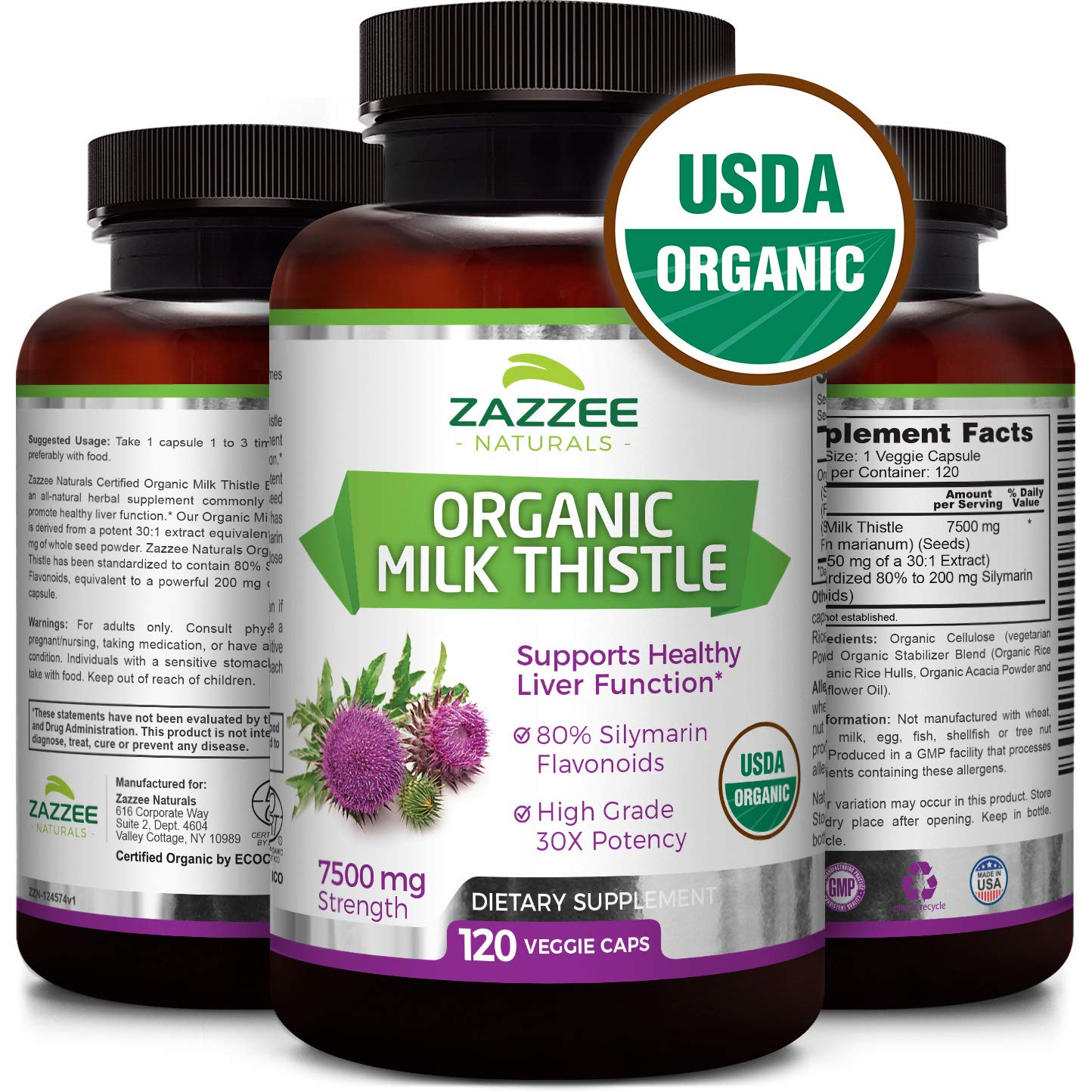 USDA Organic Milk Thistle | 7500 mg Strength | 120 Veggie Caps | 30X Concentrated | 80% Silymarin Flavonoids | Non-GMO, Vegan and All-Natural | USDA Certified Organic | Extra Strength Liver Detox