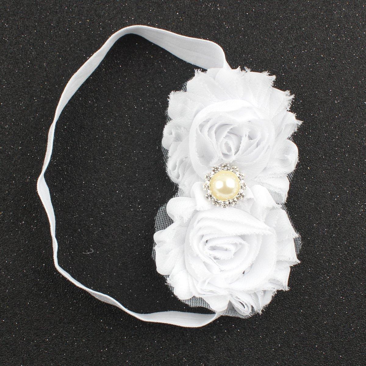 marfil Venda de nylon del beb/é dise/ño el/ástico suave del dise/ño de 3 venda floral del pelo