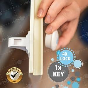 BooBoo - Bloque-tiroir/placard pour bébé/enfant - 4 verrous adhésifs et 1 clef magnétique - rapide/aucun outils requis