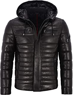 Mens Real Leather Genuine Quilted Puffer Zipped Jacket Brown Black Casual