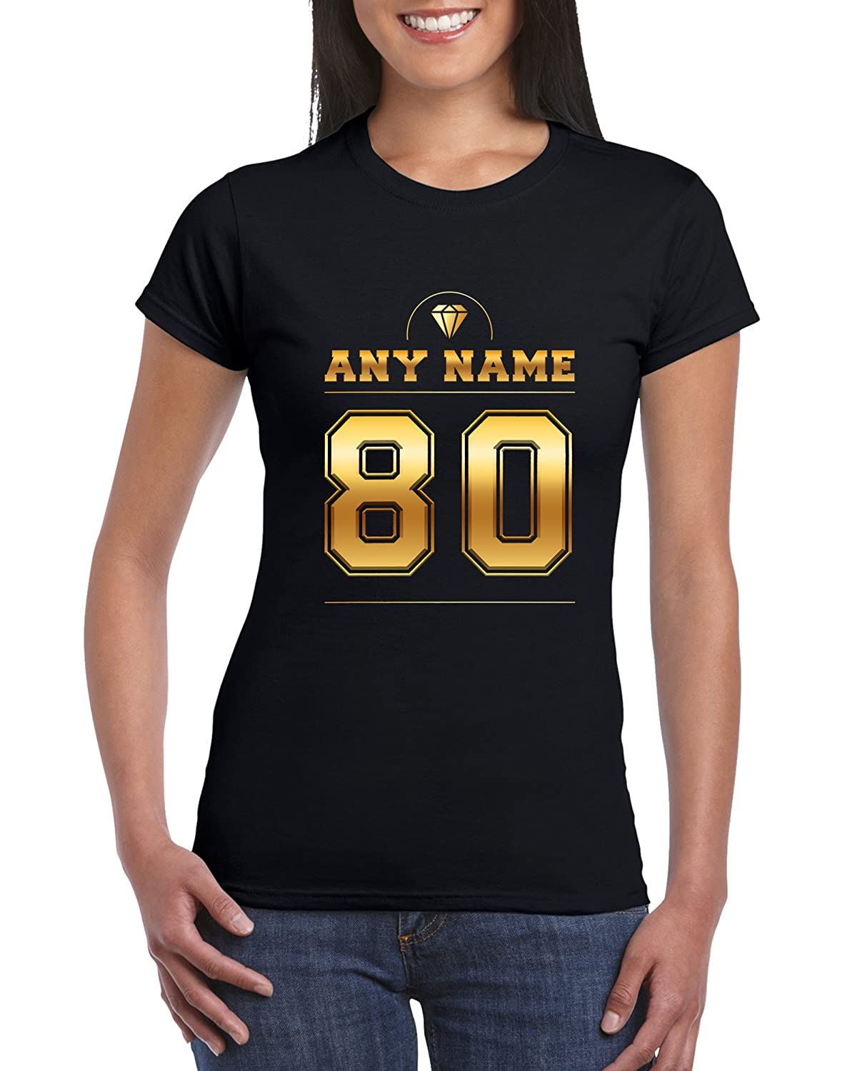 Number 80 T Shirt For Women With Name