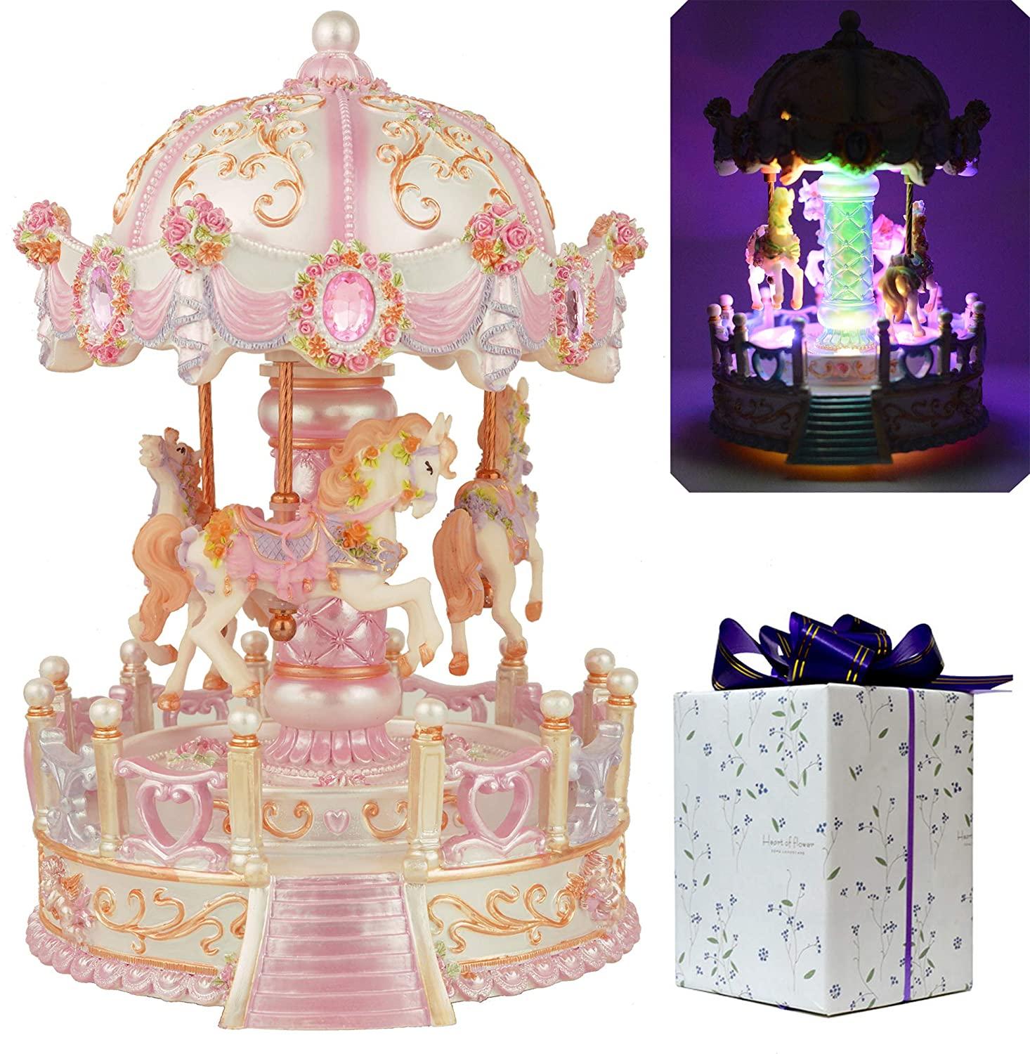 ACCOCO Large Carousel Music Box Luxury Color Change LED Light Luminous Rotating 3-horse Merry-Go-Round Music Box;Two Melody Carrying You from Castle in the Sky and Swan Lank (Pink)