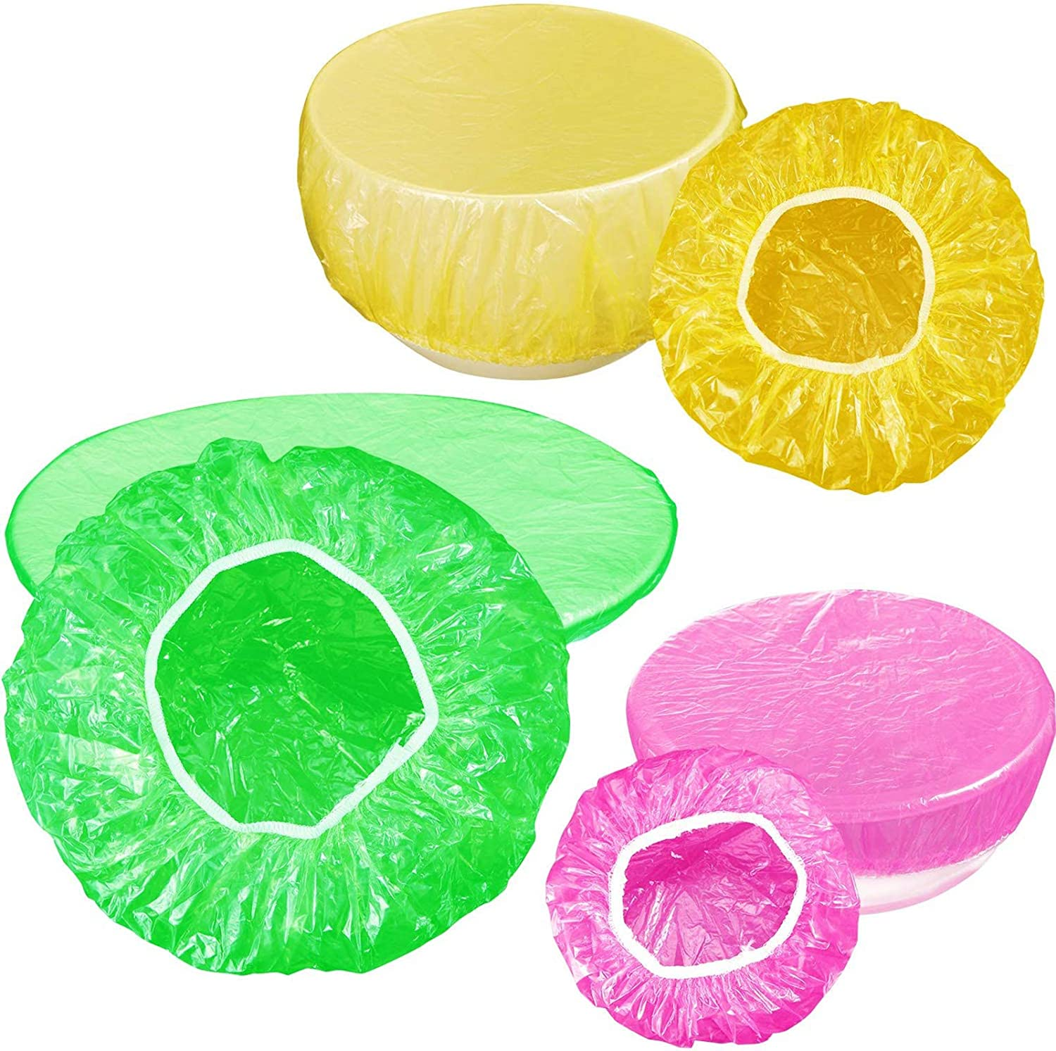 DIPNANG 60 Pieces Food Storage Covers for Dishes 3 Size Colorful Plastic Elastic Bowl Cover with Elastic Edging Stretchable Disposable Food Storage Wrap For Plates, Leftovers, Picnic Outdoor Food