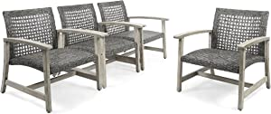 Great Deal Furniture Viola Outdoor Wood and Wicker Club Chairs (Set of 4), Gray Finish and Mixed Black