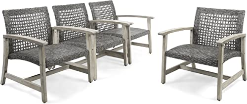 Great Deal Furniture Viola Outdoor Wood and Wicker Club Chairs Set of 4 , Gray Finish and Mixed Black
