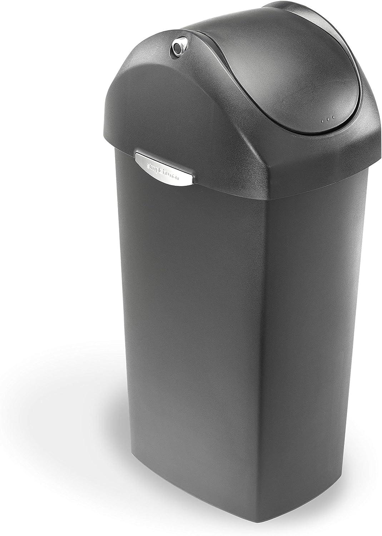 simplehuman 60 Liter / 16 Gallon Swing Lid Trash Can, Grey Plastic