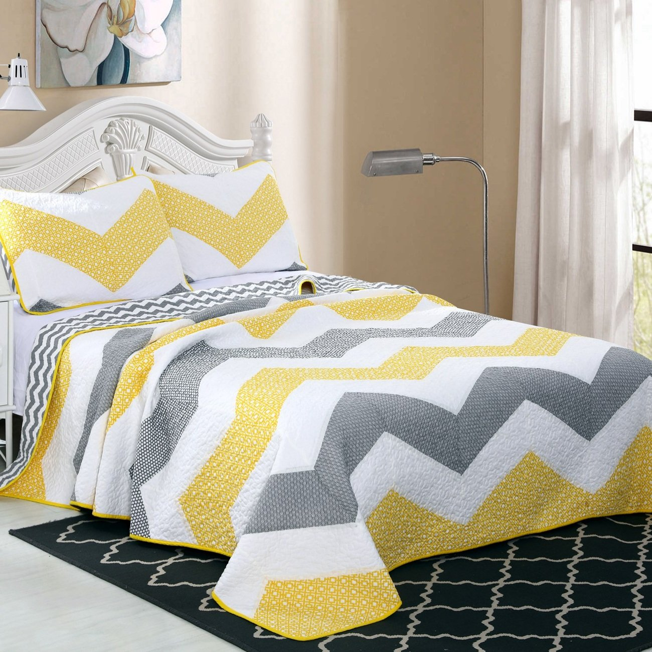 Alicemall Chevron Prints Quilt Set 100% Cotton White Gray Yellow Chevron Reversible Quilt / Bedspread Set, King Size Large Coverlet Set (Yellow, King)