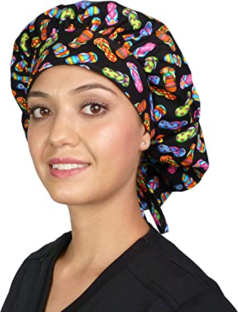 Bouffant style surgical scrub cap