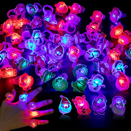 Light Up Rings Party Favors for Kids 50 PCS Flashing Jelly Ring Toys for Parties Birthday Concert Shows and Christmas Stocking Stuffers