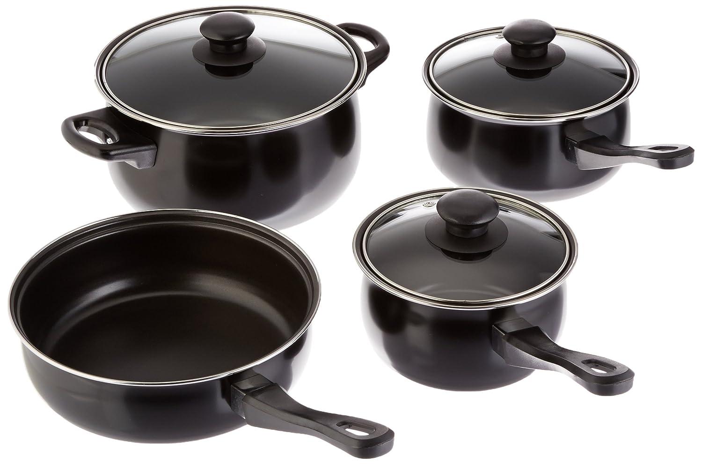 Gibson Home Chef Du Jour 7 Piece Cookware Set, Black