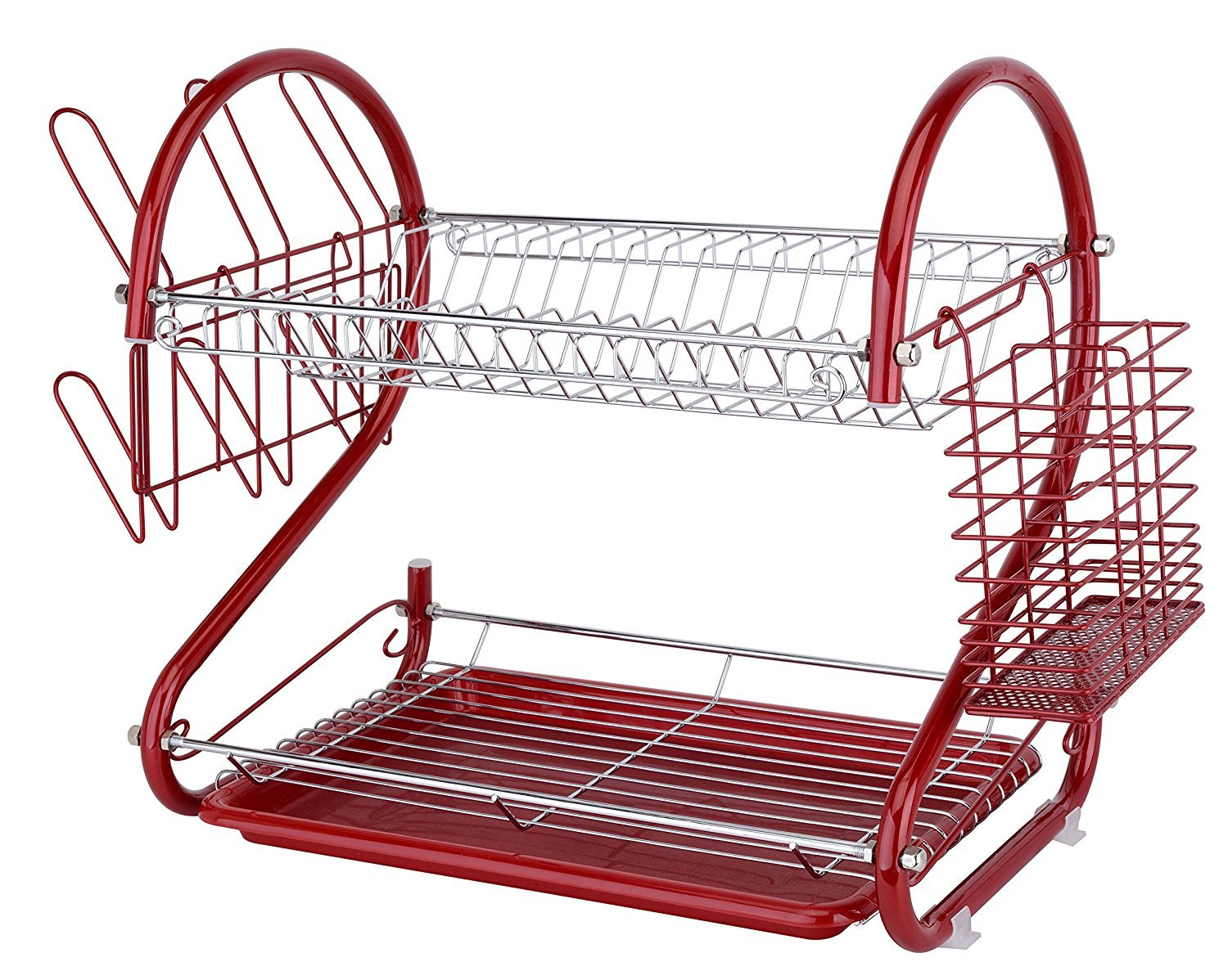 Europe Ware K10766, Iron Red Dish Rack with Plastic Draining Tray and Cutlery Drying Basket, Countertop Dish Drying Rack System with Flatware Holder and Cup Drainer, GIFT BOX