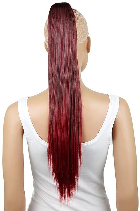 PRETTYSHOP Clip de en las extensiones postizos extensiones de cabello pelo  liso largo hechos de fibras 943cf6b285bb
