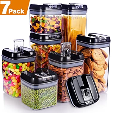 """Senbowe [7-Piece] Air-Tight Food Storage Container Set with Durable Plastic,BPA Free,Clear Containers,Stackable Design, for Organizing Kitchen Space - Upgrade Black Lids (3.8×3.8"""")"""