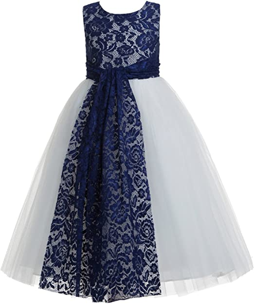 Floral Lace Heart Cutout Flower Girl Dresses Girls Pageant Dresses Princess Gown