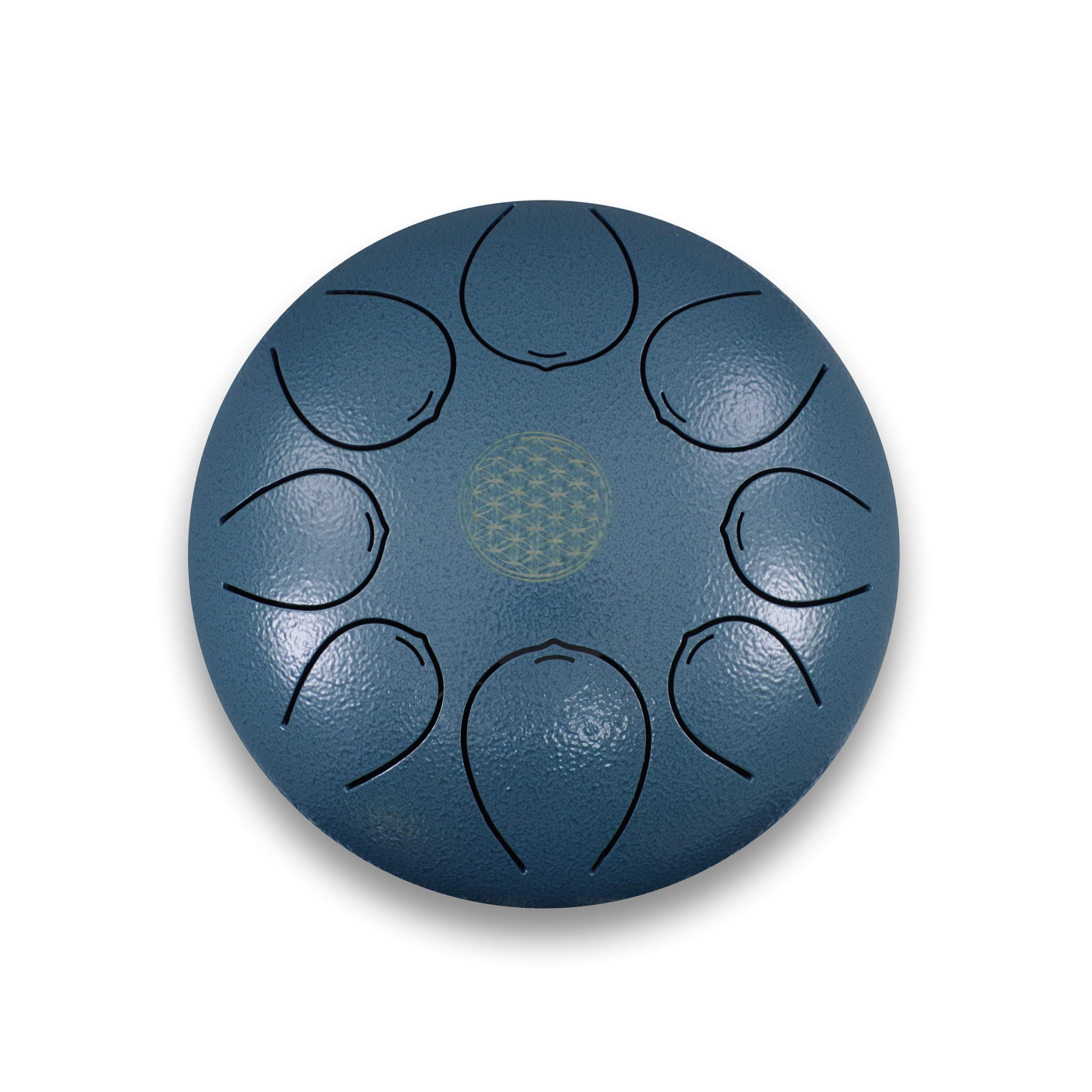 8 inch steel tongue drum pentatonic with 2 mallets and one bag 100% handmade Drum Sound Healing (blue) by WUYOU