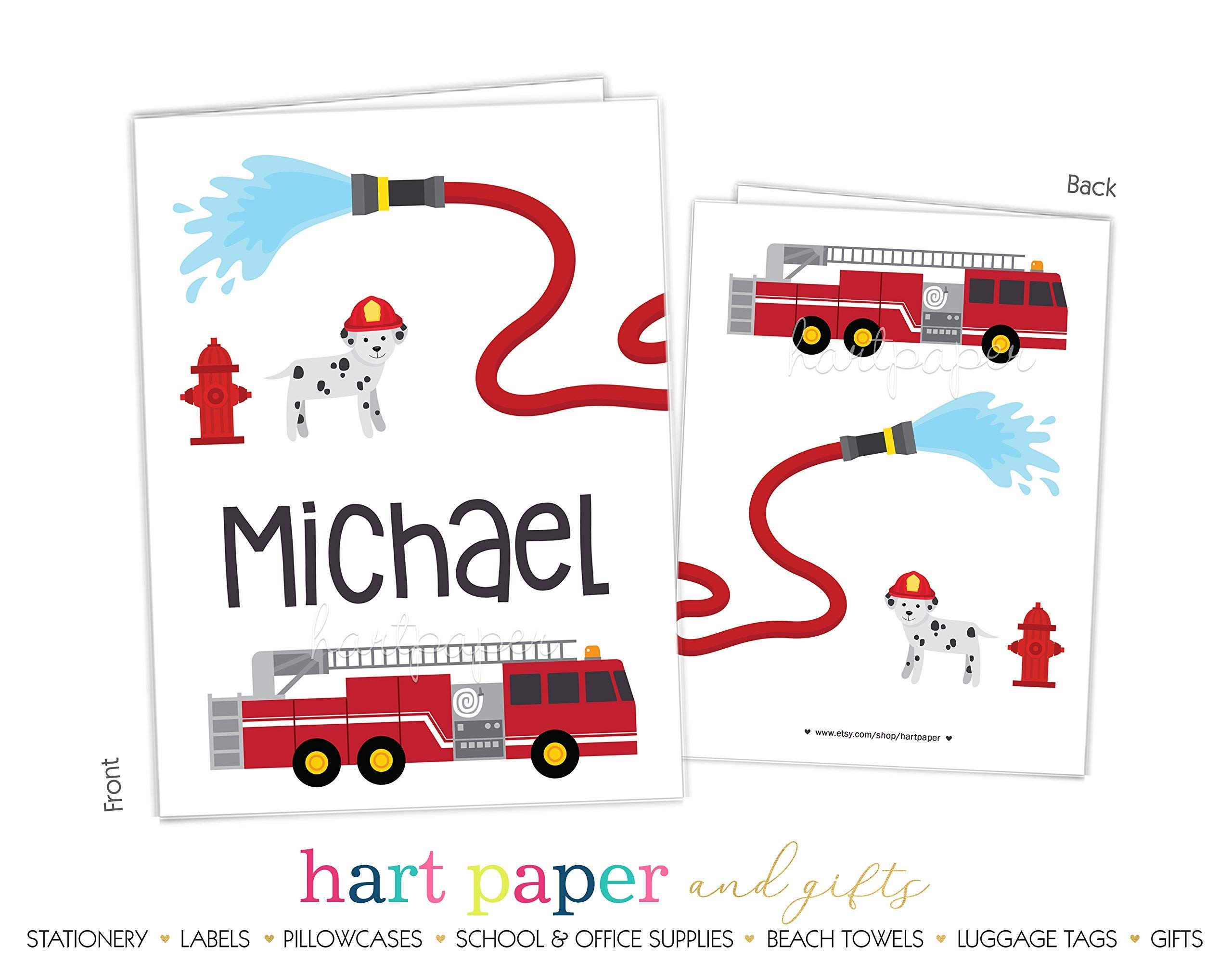 Firetruck Fire Truck 2 Pocket Folder Gift Name Back to School Supplies Teacher Office Birthday Girl Kids Custom Personalized Custom