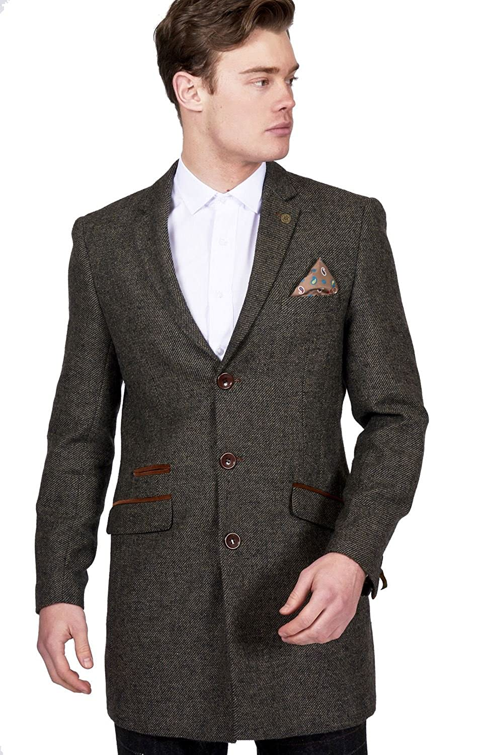 Mens Marc Darcy Designer Brown Tan Wool Style Tweed Overcoat Size 36-52 Available