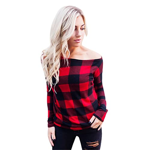 Longra Mujer Camisas Off Hombro a Cuadros Blusa De Moda De Manga Larga Casual Camisetas,