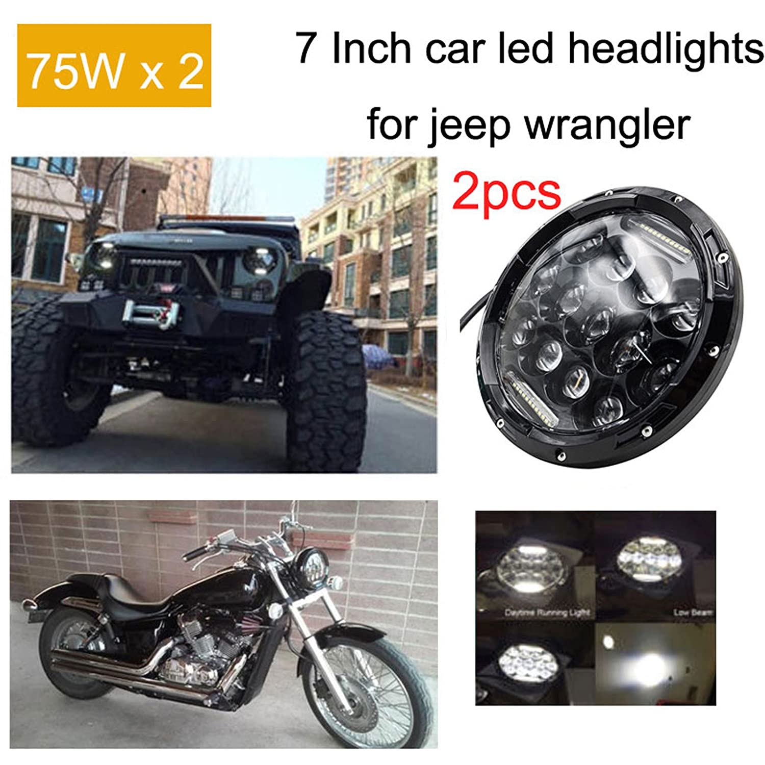 2x 7 Inch Round Led Headlights Drl For Jeep Wrangler Jk