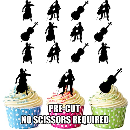 ak giftshop cello players silhouette edible stand up cupcake toppers