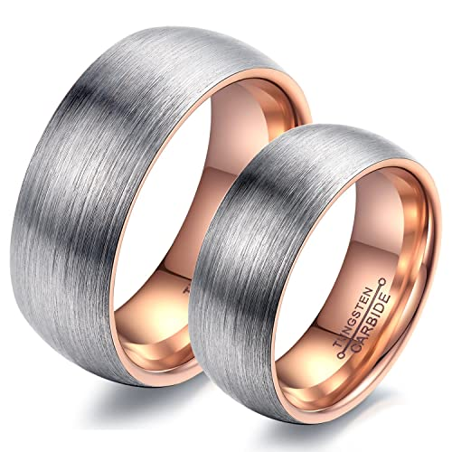 CARTER PAUL Anillo de Plata del Oro del carburo de tungsteno Rose Cepillo Mate Cinta Anillos