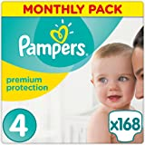 Pampers Premium Protection 168 Nappies, Monthly Saving Pack, 7 - 18 kg, Size 4