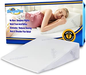 "Sleepnitez 8"" Wedge Pillow for Acid Reflux, Luxurious 3.25"" Memory Foam Pillow Wedge for Sleeping, Anti Snoring, GERD, Post Surgery. Bed Wedge Pillow + Tencel Bamboo Washable Cover"