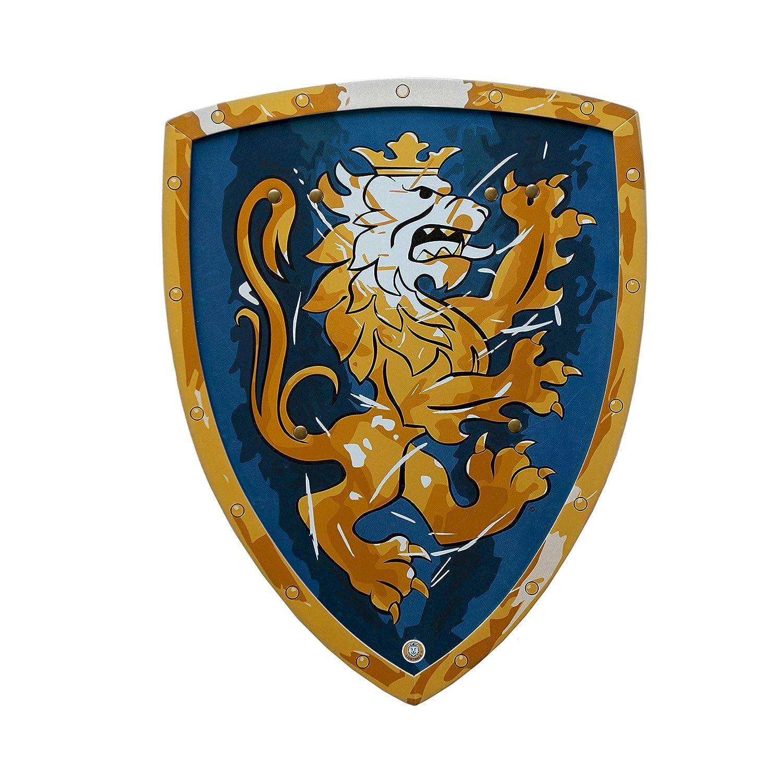 Liontouch - LT00113 - Bouclier de Chevalier Lion Doré - Taille Unique - Bleu 113LT