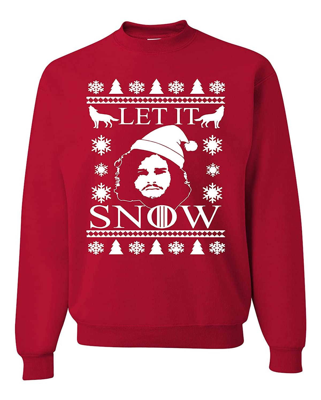 hot sale let it snow jon snow ugly christmas sweater unisex sweatshirts red