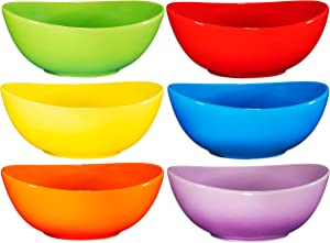 Bruntmor Ceramic Salad, Cereal And Pasta Bowls Set Of 6, Shallow Dinner Bowls That Are Oven, Microwave Oven And Dishwasher Safe, Chip And Scratch Resistant (Gradient Colors, 28 oz Each)