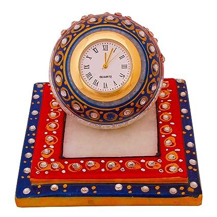 Beautiful Golden Meenakari Work Marble Table Clock