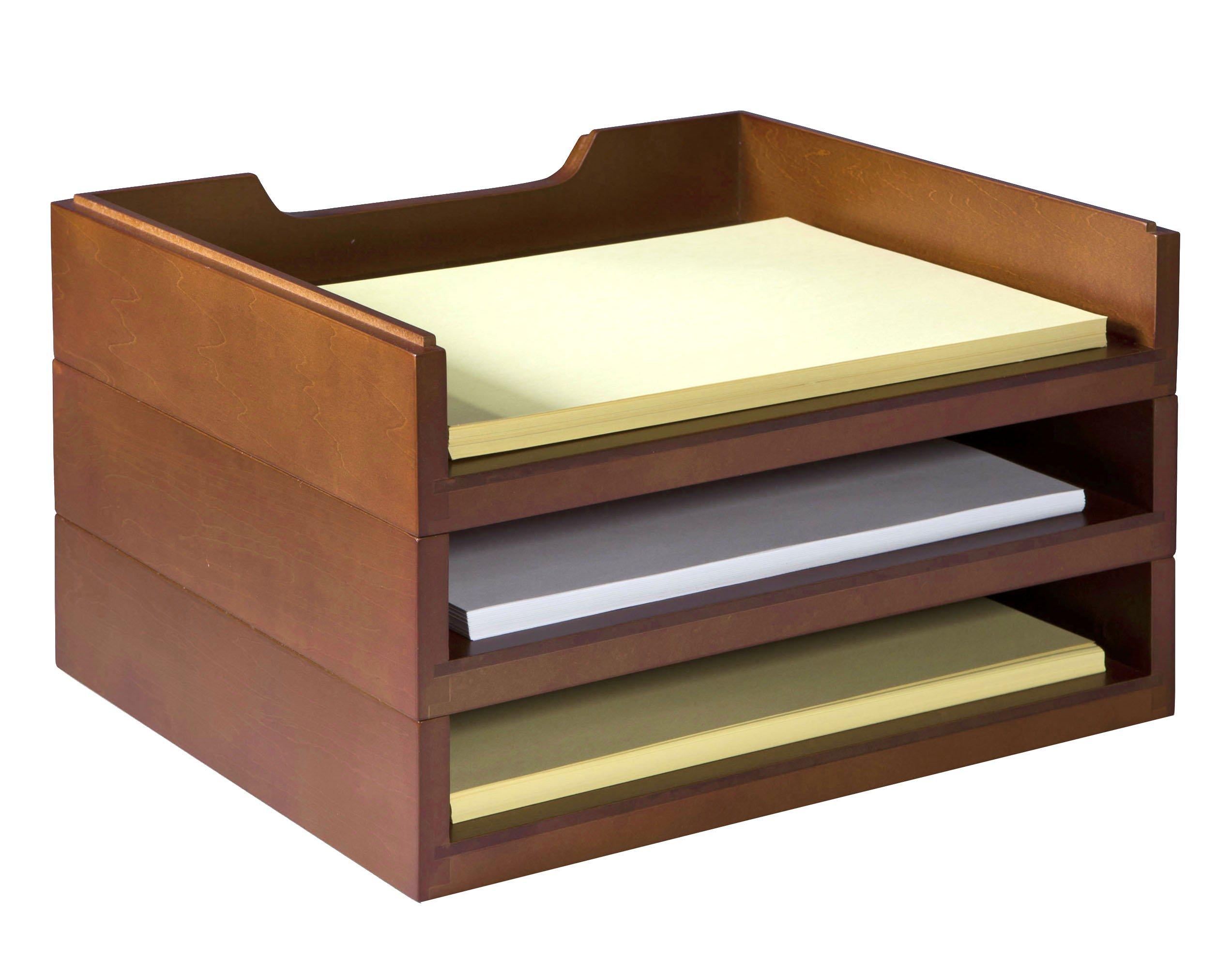 Bindertek Stacking Wood Desk Organizers with 3 Letter Tray Kit, Cherry (WK4-CH) by Bindertek