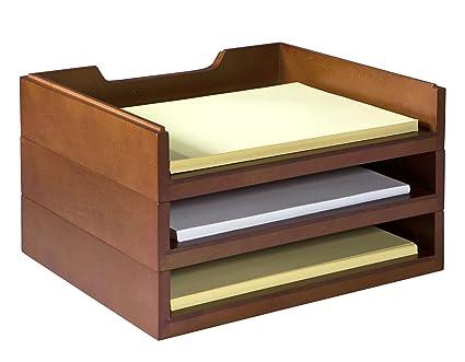 Surprising Bindertek Stacking Wood Desk Organizers With 3 Letter Tray Kit Mahogany Wk4 Ma Download Free Architecture Designs Oxytwazosbritishbridgeorg