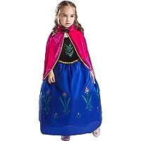 ELSA & ANNA® Filles Reine des Neiges Princesse Partie Costumée Déguisements Robe de Soirée FR-FBA-ANNA2 (5-6 Ans, FR-ANNA2)