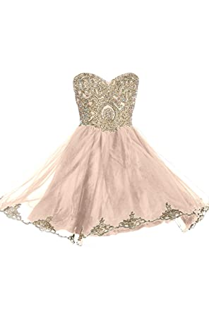 Prom Dresses Short Lace Prom Homecoming Dresses Affordable Beautiful Sparkly Dress, Color Champagne,6