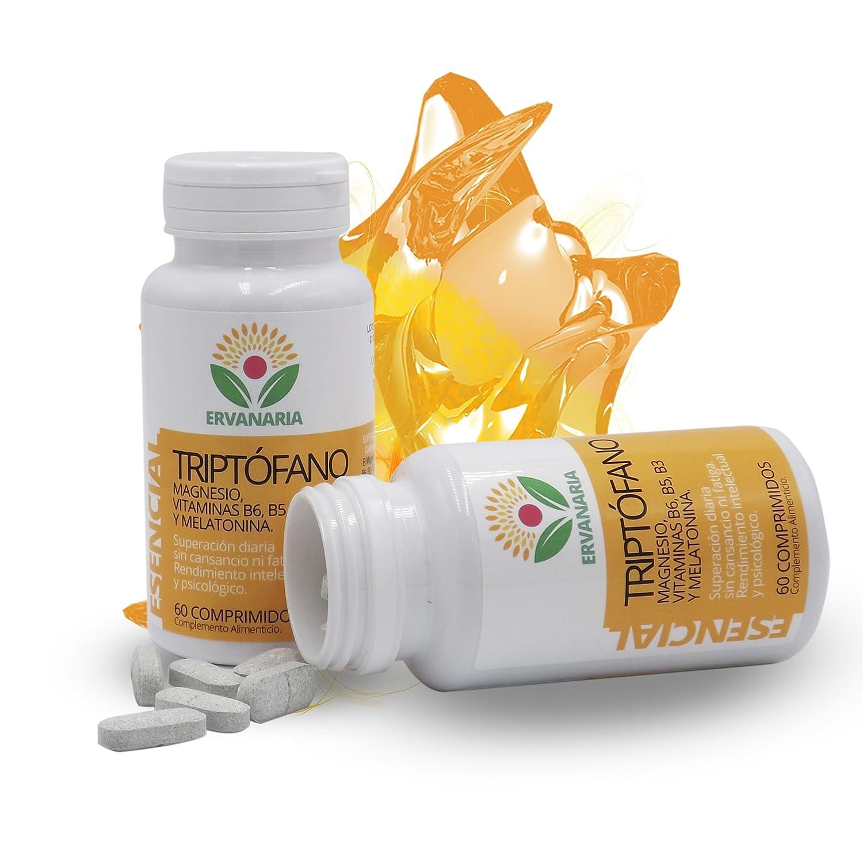 Triptófano con Magnesio, Vitaminas B6,B5,B3, Melatonina y Espirulina Como AntiOxidante, 60 C. Menos Cansancio Y Fatiga. Mejor Estado De Ánimo ...