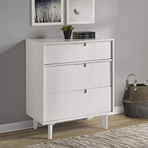 "WE Furniture Pine Wood 3-Drawer Groove Handle Vertical Dresser, 36"" H, White"