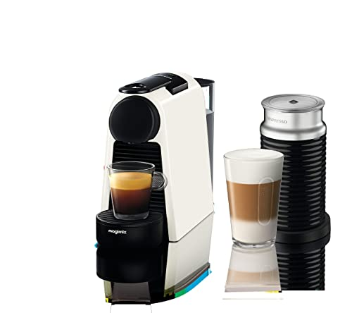 Nespresso Essenza Mini Coffee Machine with Aeroccino, Pure White by Magimix