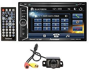 "Farenheit TI-623B 2 Din in-Dash 6.2"" Car Monitor DVD/SD/USB w/Bluetooth+Camera"