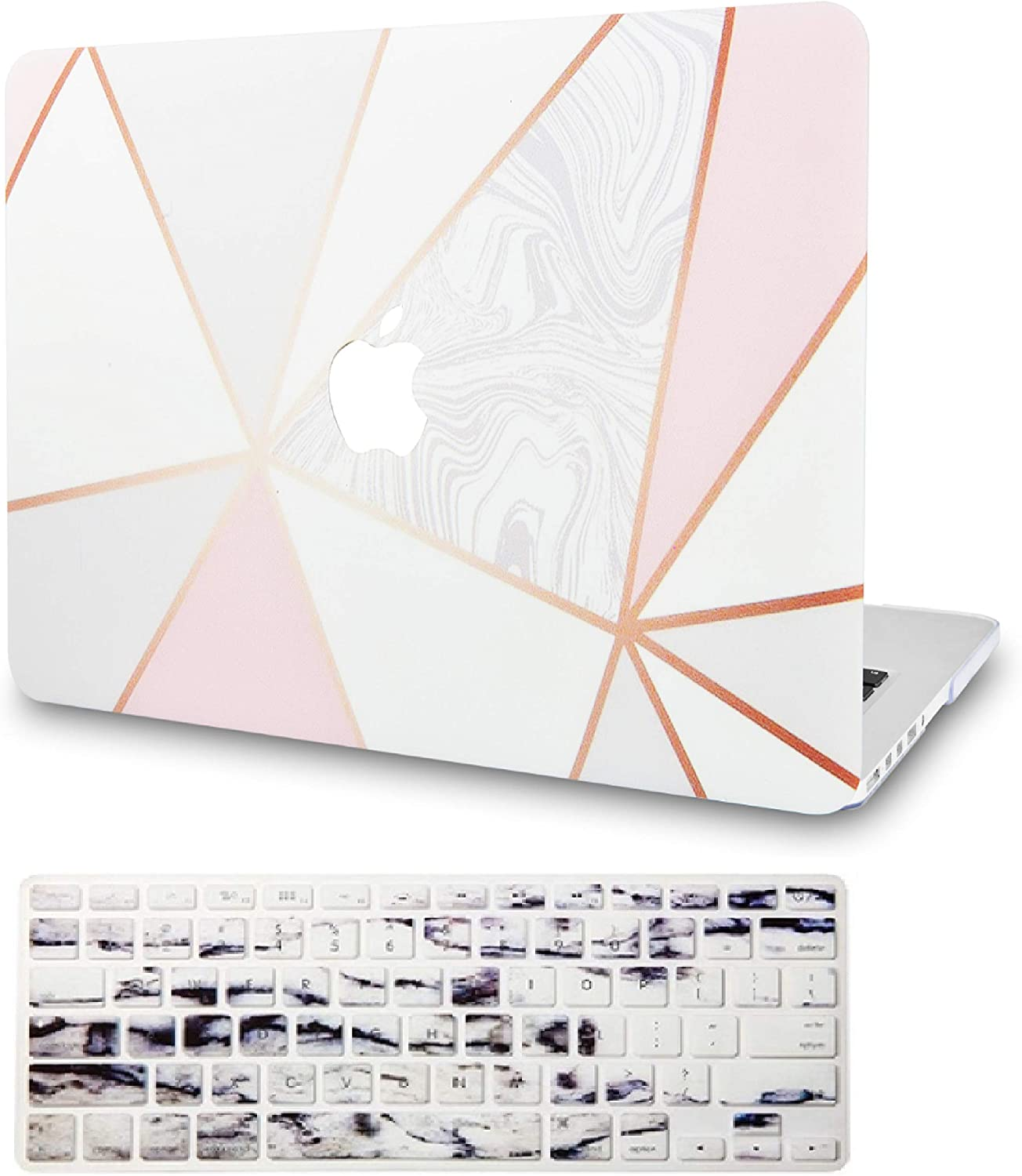"""KECC Laptop Case for MacBook Air 13"""" Retina (2020, Touch ID) w/ Keyboard Cover Plastic Hard Shell Case A2179 2 in 1 Bundle (White Marble with Pink Grey 2)"""