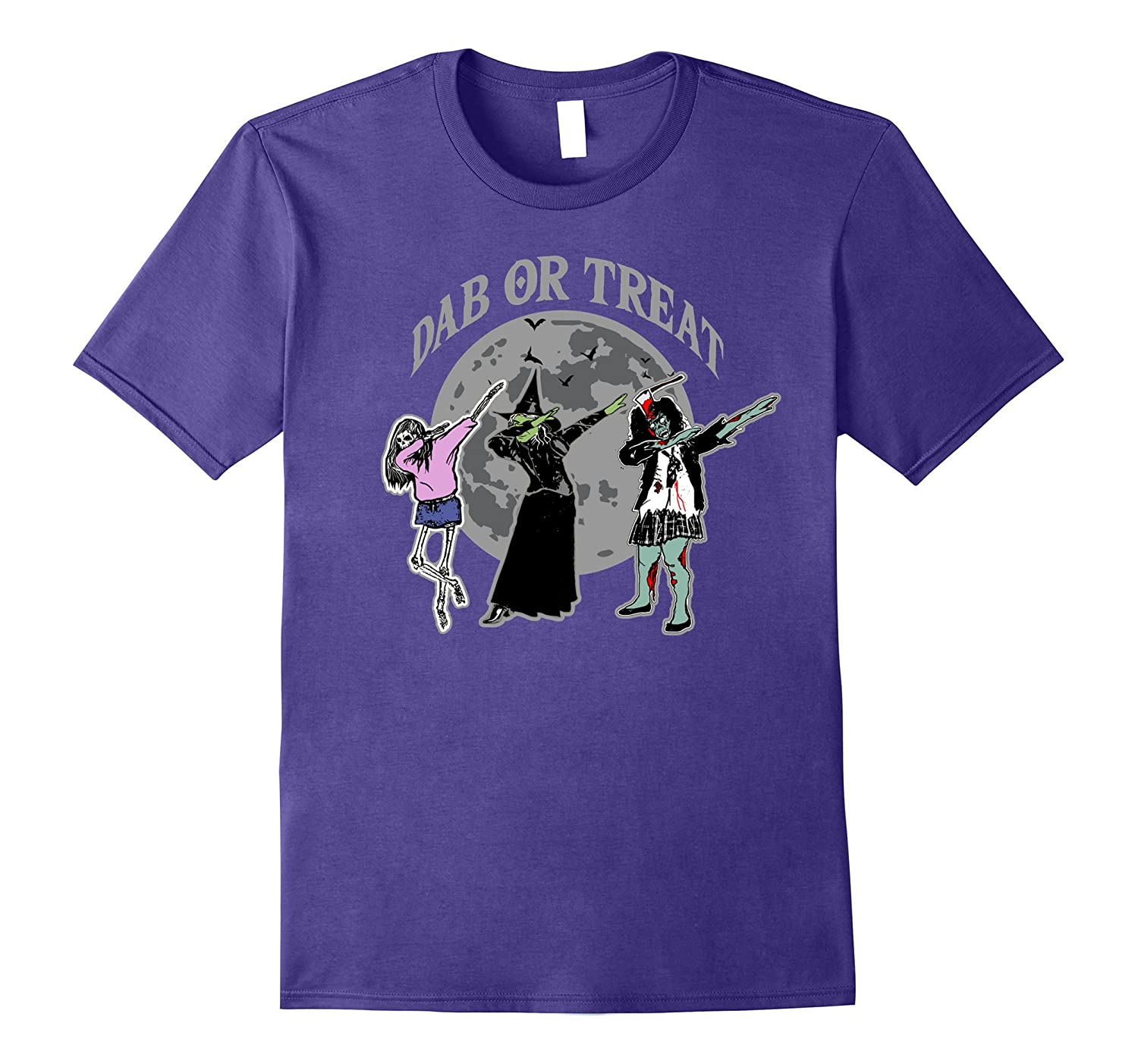 Halloween Skeleton Witch Zombie Dab or Treat T Shirt Tee-T-Shirt