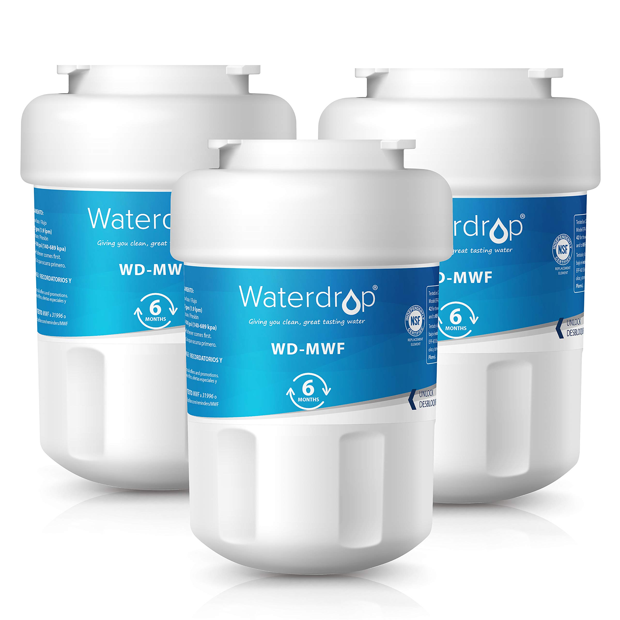 Waterdrop MWF Replacement Refrigerator Water Filter, Compatible with GE MWF, MWFP, MWFA, GWF, GWFA, SmartWater, Kenmore 9991, 46-9991, 469991, Standard, 3 Pack
