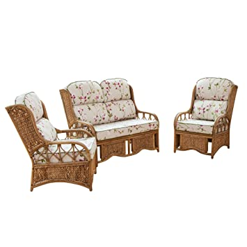 Alfresia Penang Cane and Woven Sea Grass Conservatory Furniture Set -  Blossom Chintz
