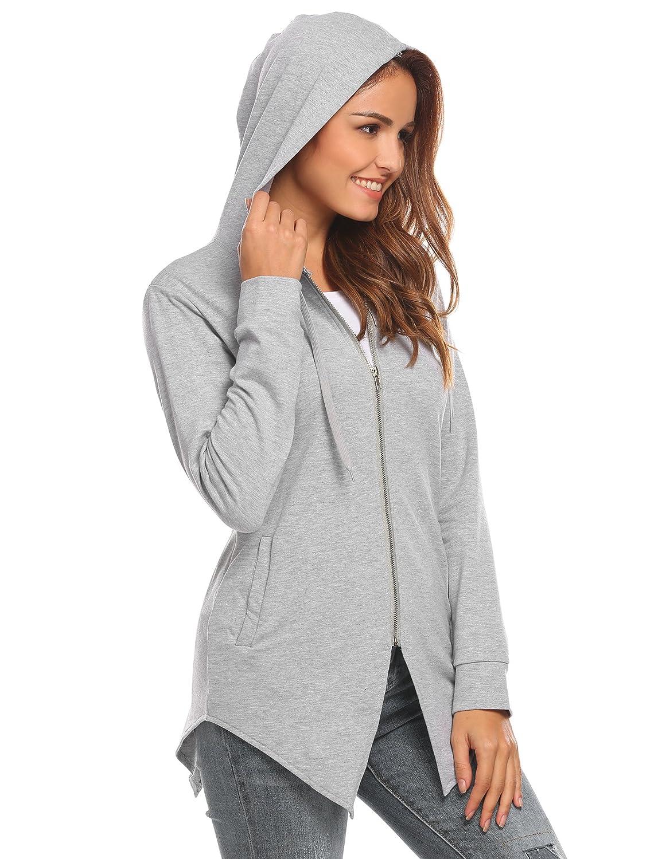 Hotouch Womens Casual Fashion Irregular Hem Hooded Pullover Sweatshirt//Hoodie Jacket