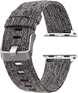 Moonooda Canvas Band Compatible with Apple Watch Bands 38mm 40mm, Men Women Cloth Belt Soft Woven Fabric Sports Dressy Strap Compatible for Apple Watch Series SE 6 5 4 40mm, Series 3 2 1 38mm, Dark Grey