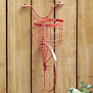Vintage Bicycle Handlebars Fence Planter for Flower Pots - Coral